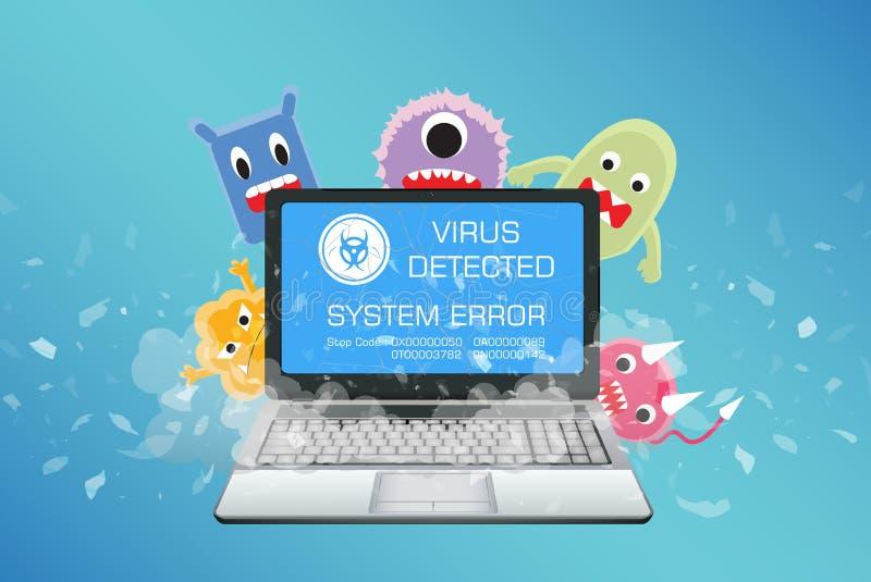 O portátil quebrado com computador do vírus detecta ilustração royalty free