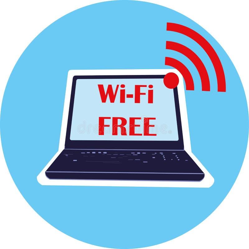 O portátil, o símbolo de Wi-Fi é livre, vetor, para a interface de usuário, os jogos da Web, as tabuletas, os papéis de pare ilustração royalty free