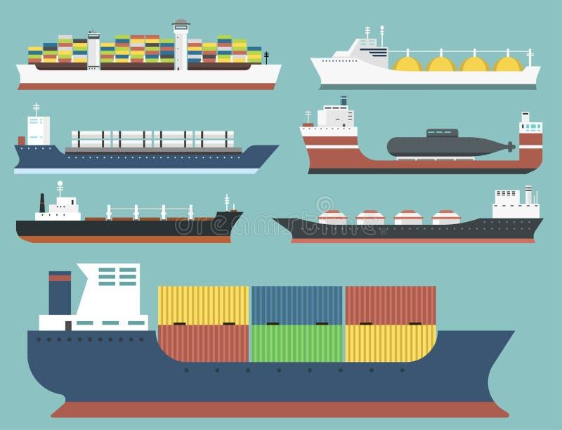 O portador de maioria da entrega das embarcações de carga e do transporte de petroleiros treina os petroleiros do barco do frete  ilustração do vetor