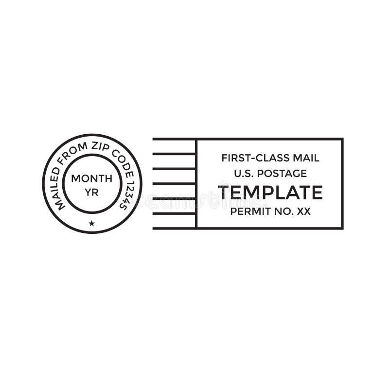 O porte postal postal do correio da primeira classe do cancelamento pagou a marca ilustração royalty free