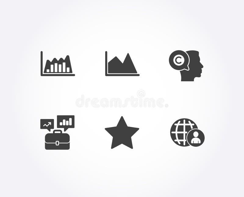 O portfólio da linha carta, do negócio e Infographic representam graficamente ícones Escritor, estrela e sinais internacionais do ilustração royalty free