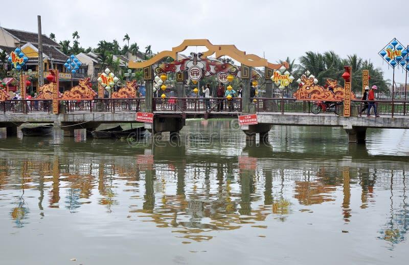O porto de troca da cidade de Hoi An, Vietname imagem de stock
