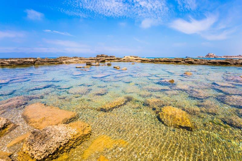 O porto do rei Herod em Caesarea foto de stock royalty free