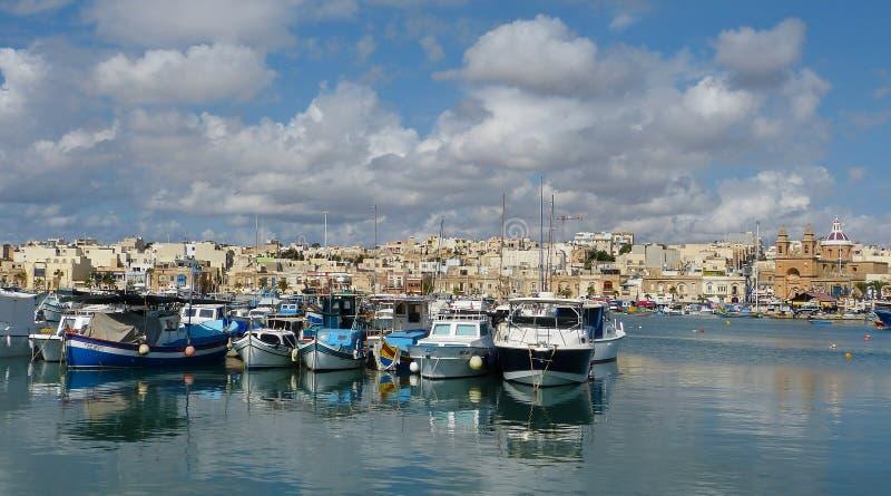 O porto em Marsaxlokk, Malta fotografia de stock royalty free