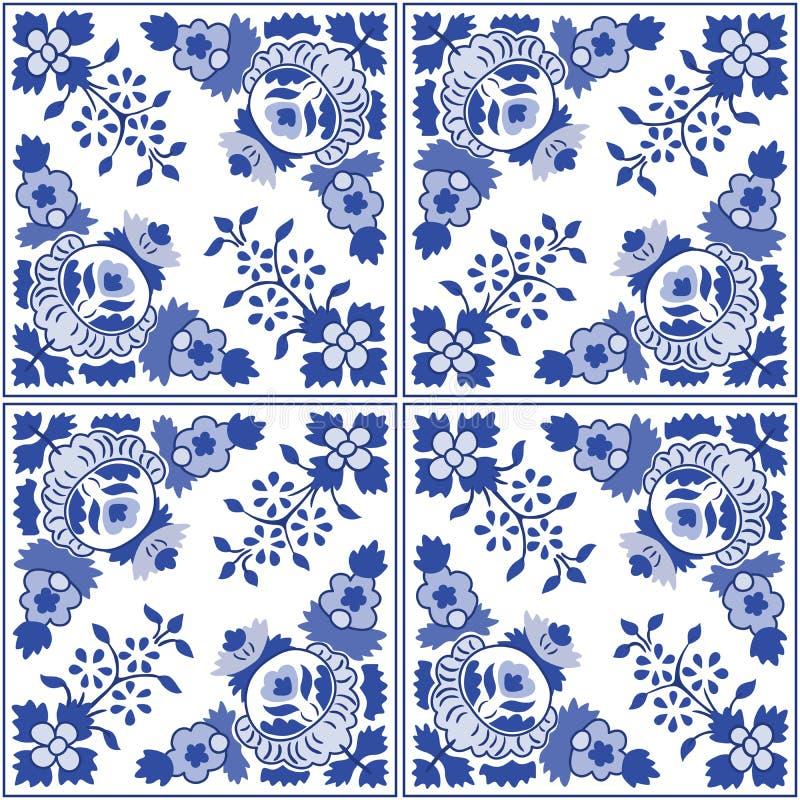 O português ornamentado tradicional telha azulejos Ilustração do vetor ilustração stock