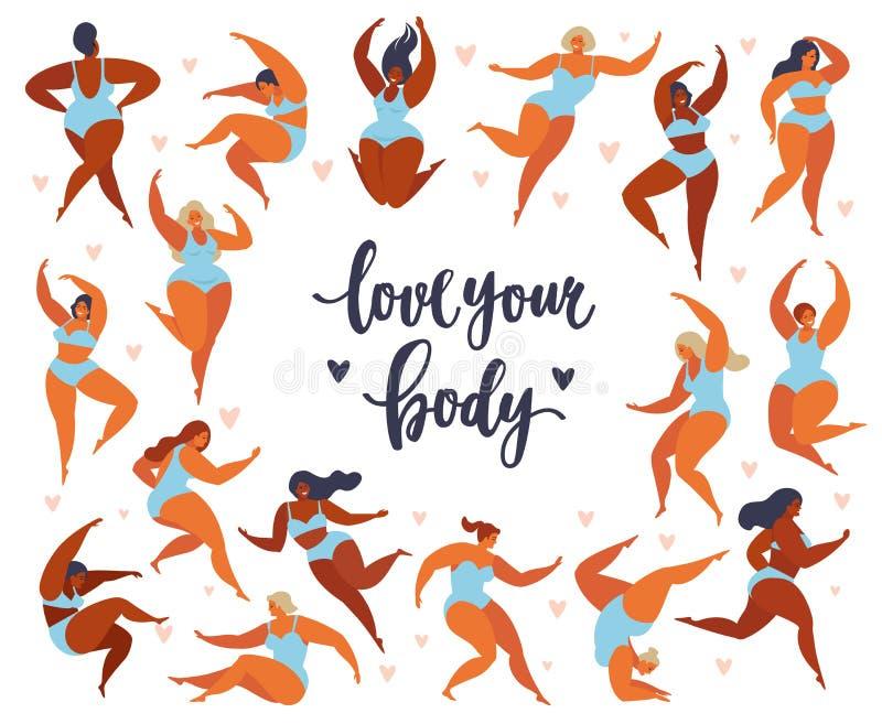 O positivo do corpo do feminismo ajustado com amor a própria figura, liberdade fêmea, poder da menina isolou a ilustração ilustração stock