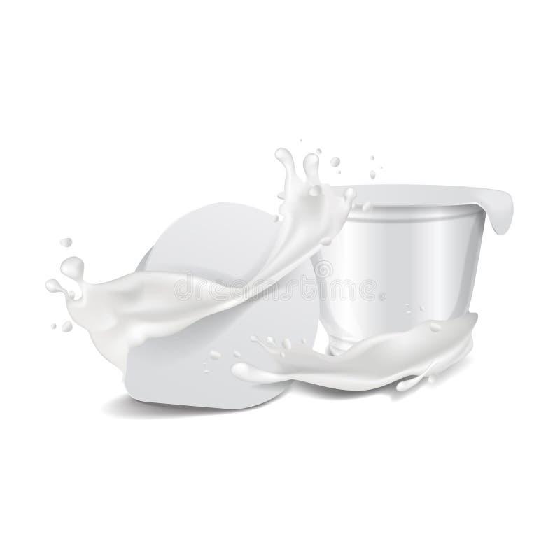 O potenciômetro plástico lustroso branco redondo do vetor com tampa e leite da folha espirra Para o iogurte dos produtos láteos,  ilustração stock