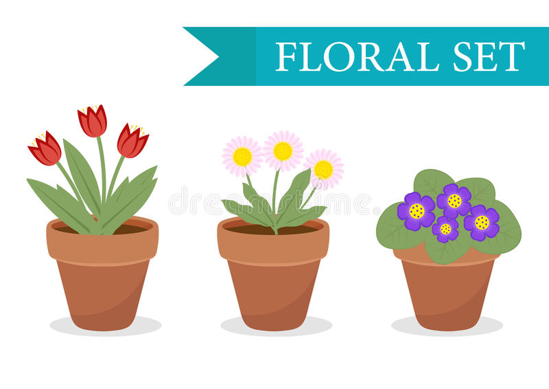 O potenciômetro de flor com flores diferentes ajustou-se, estilo liso Coleção do vaso de flores no fundo branco Vetor ilustração royalty free