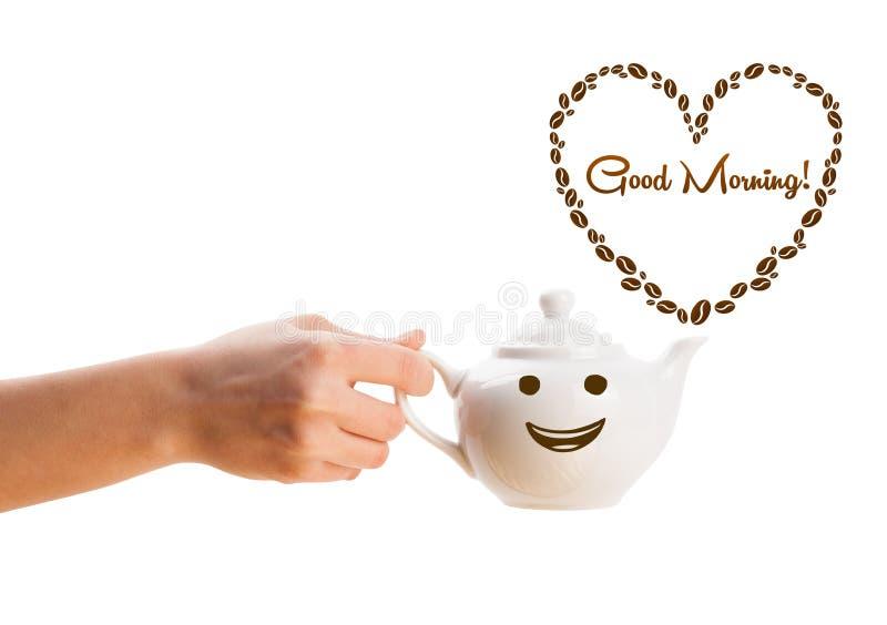 O potenciômetro do café com feijões de café deu fôrma ao coração com sinal do bom dia imagens de stock