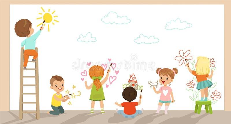 O pré-escolar caçoa a pintura com escovas e as pinturas na parede branca vector a ilustração ilustração do vetor
