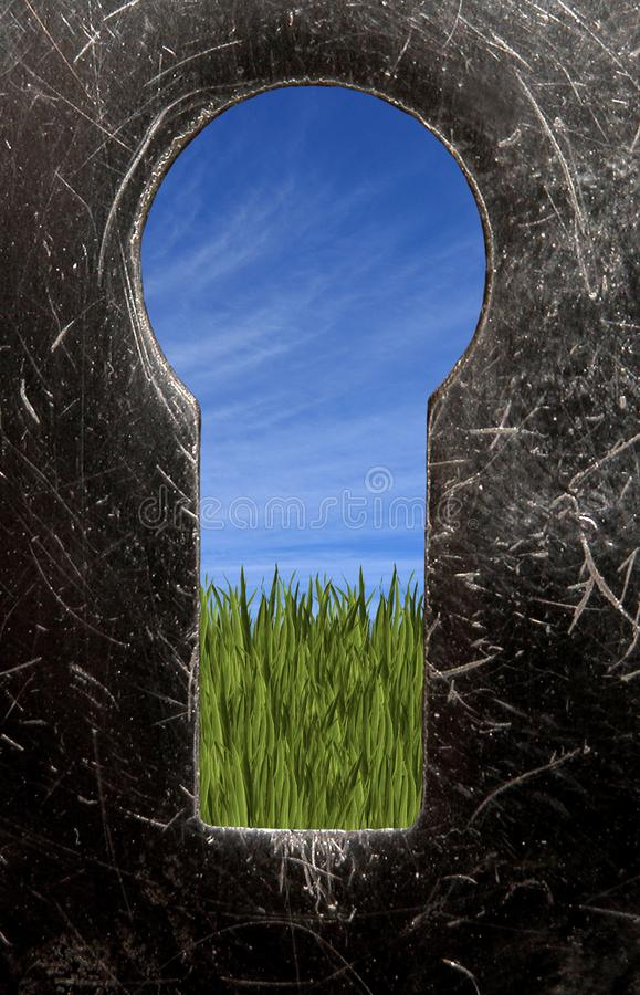 O prado do buraco da fechadura foto de stock