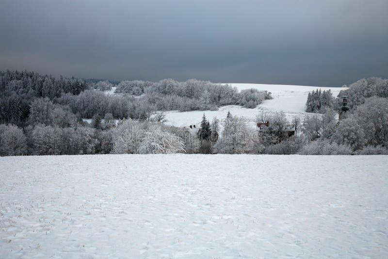 O prado e a floresta cobertos com a neve no 'de StoÅ devem, apresentam as montanhas, parque nacional no Polônia fotografia de stock royalty free