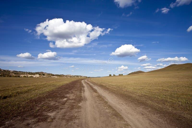 O prado encontra o céu fotografia de stock