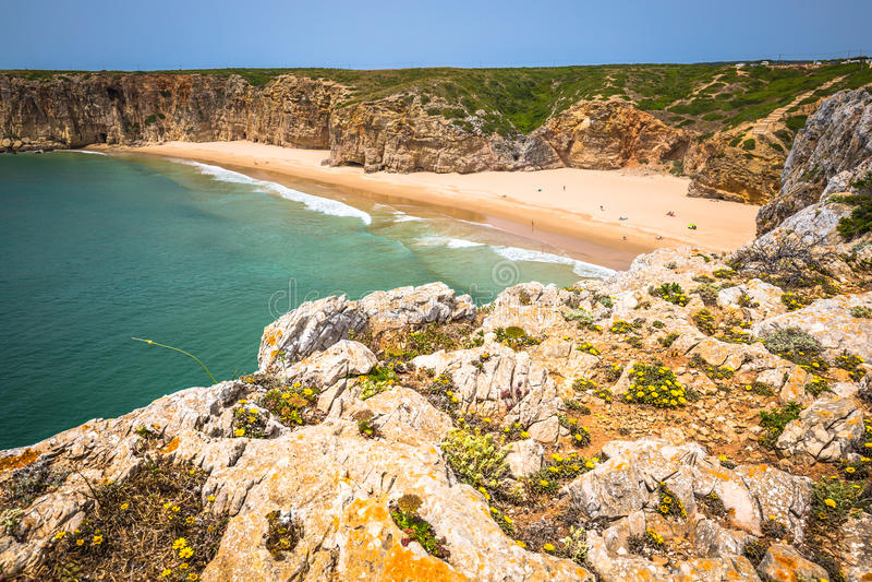 O Praia faz Beliche - costa e praia bonitas do Algarve, Portuga fotografia de stock