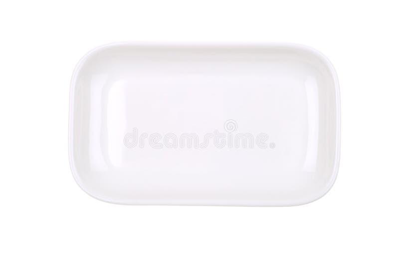 O prato branco retangular no branco imagem de stock