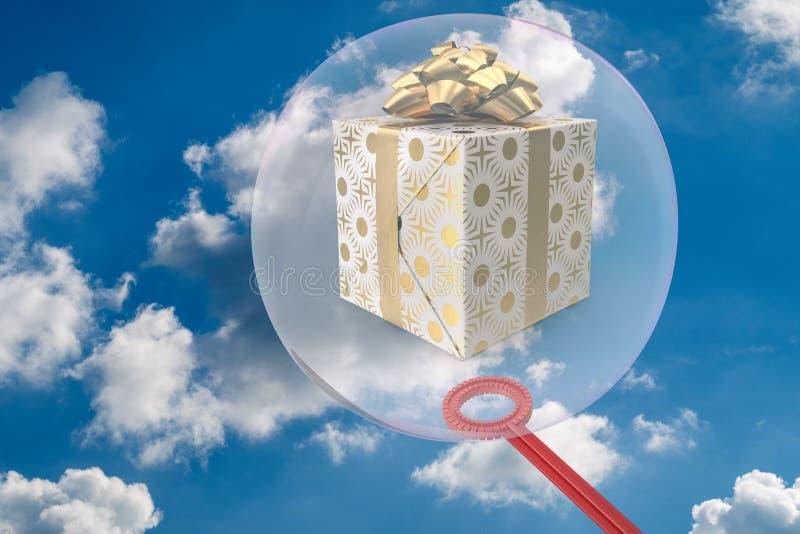O presente é incluído em uma bolha de sabão - 3D-Illustration fotos de stock