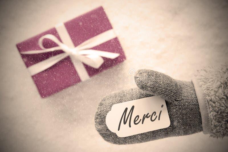 O presente cor-de-rosa, luva, meios de Merci agradece-lhe, filtro de Instagram fotos de stock