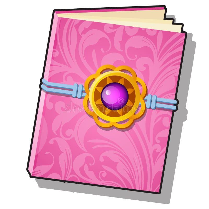 O presente decorou o livro com o ornamento florido cor-de-rosa isolado em um fundo branco Ilustra??o do close-up dos desenhos ani ilustração royalty free