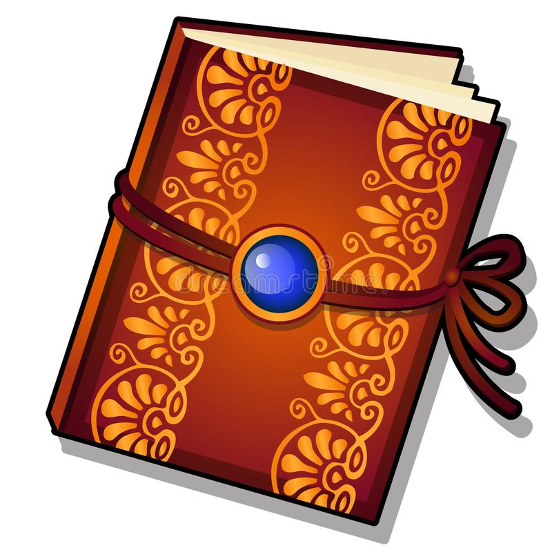 O presente decorou o livro com o ornamento florido dourado isolado em um fundo branco Ilustra??o do close-up dos desenhos animado ilustração stock