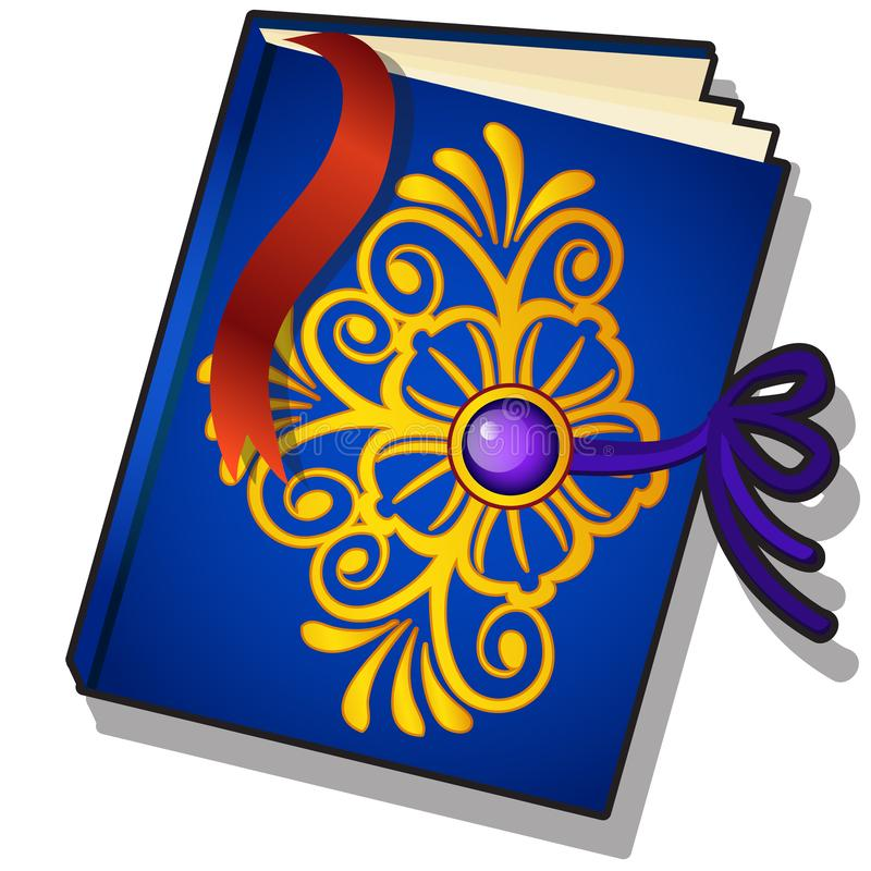 O presente decorou o livro com teste padrão florido dourado e o marcador isolado em um fundo branco Close-up dos desenhos animado ilustração do vetor