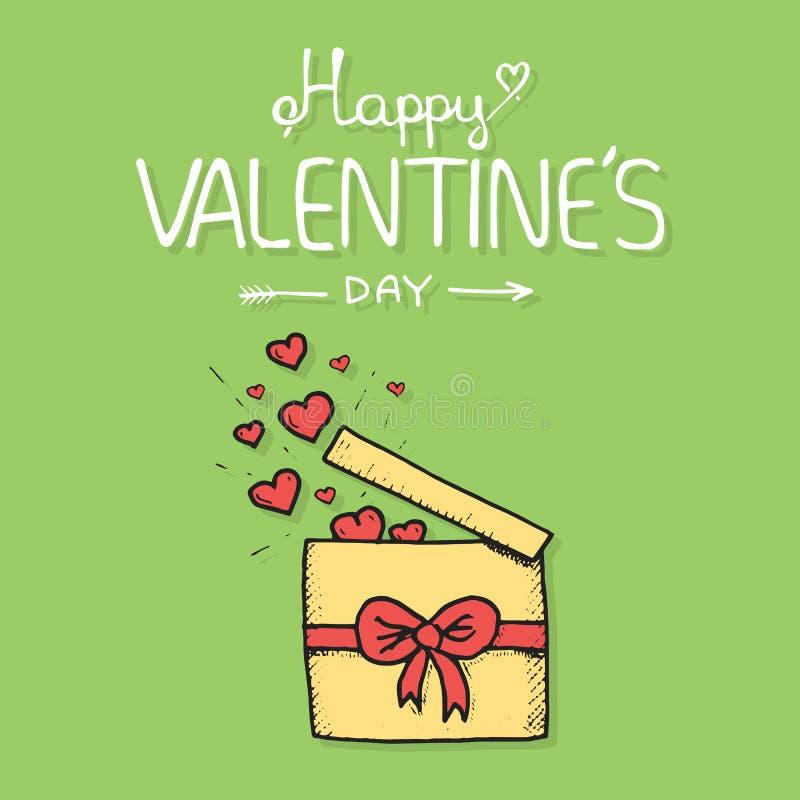 O presente do Valentim openned para liberar corações ilustração royalty free