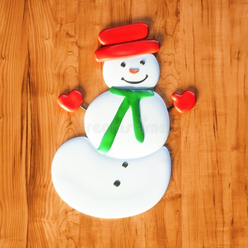 O presente doce do Natal dos doces do boneco de neve na tabela de madeira 3d rende imagens de stock