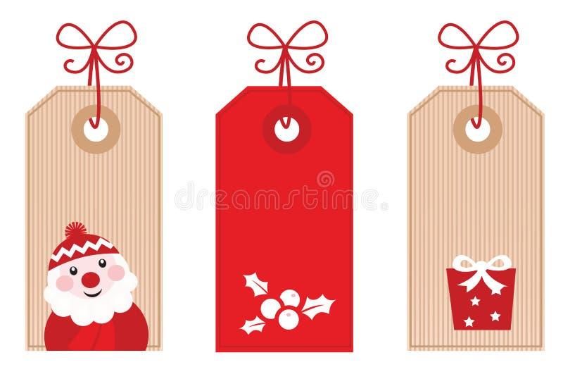 O presente retro do Natal etiqueta ou as etiquetas (vermelhas) ilustração stock