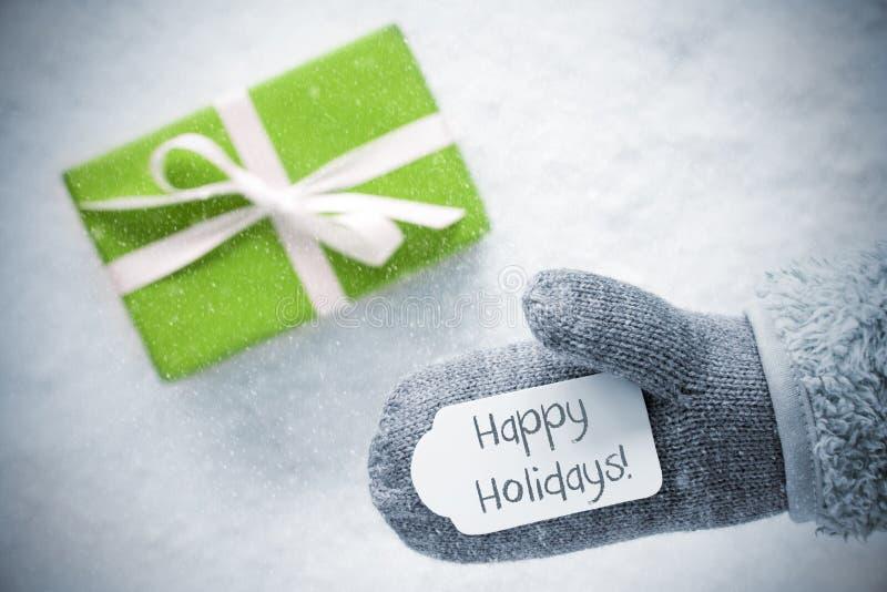 O presente verde, luva, Text boas festas, flocos de neve foto de stock royalty free