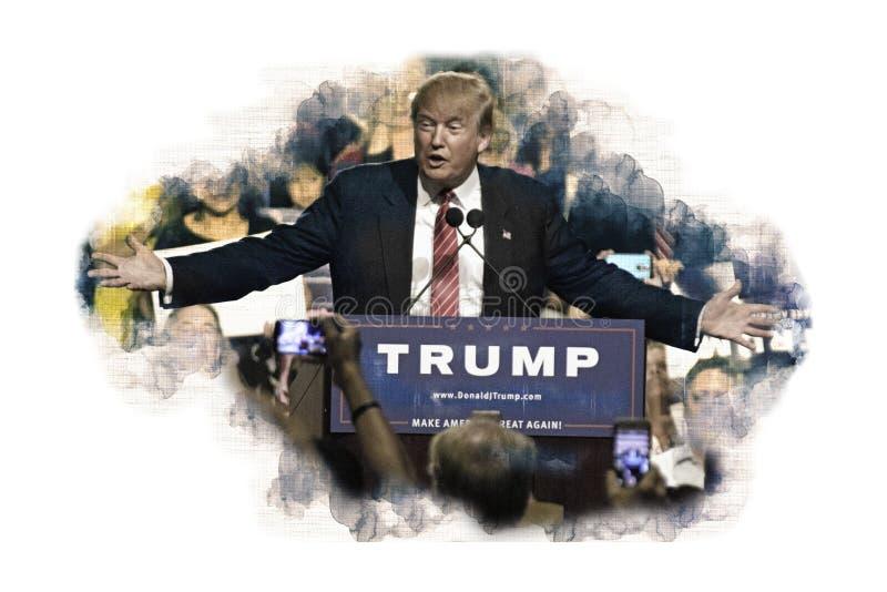 O presidente americano Donald Trump dá o discurso aos eleitores foto de stock