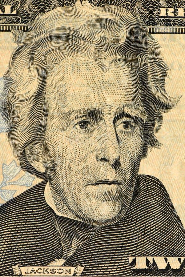 O presidente Andrew Jackson dos E.U. enfrenta em um macro de vinte notas de dólar, close up do dinheiro de Estados Unidos foto de stock