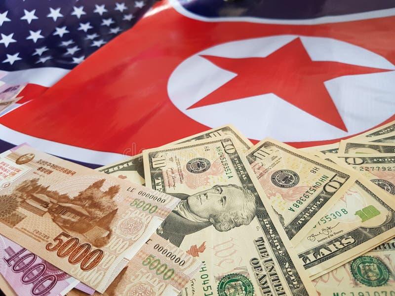 O presidente do Estados Unidos indicou em uma declaração de política que encontrará líderes norte-coreanos em Hanoi, Vietname imagem de stock