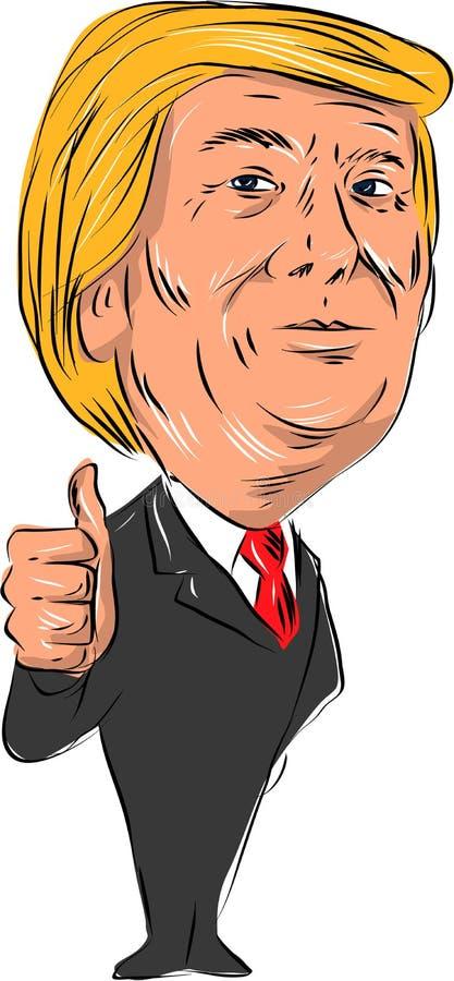 O presidente 2016 do trunfo manuseia acima ilustração do vetor