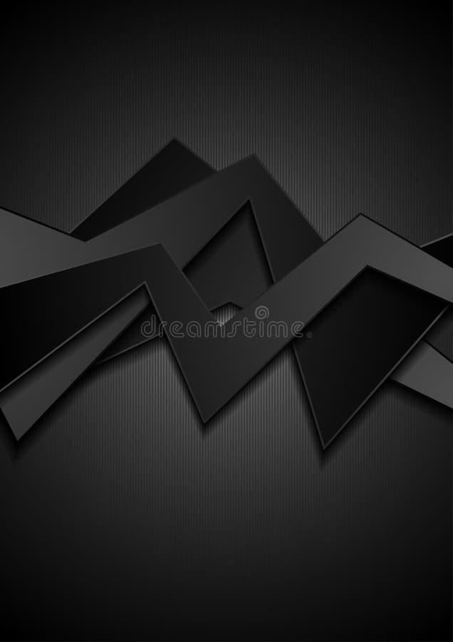 O preto abstrato curvado listra o fundo incorporado ilustração stock