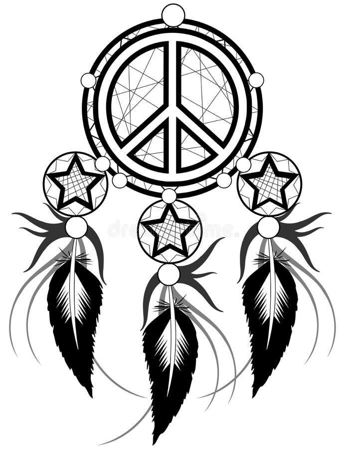 O preto bani pensamentos com símbolo da paz ilustração royalty free