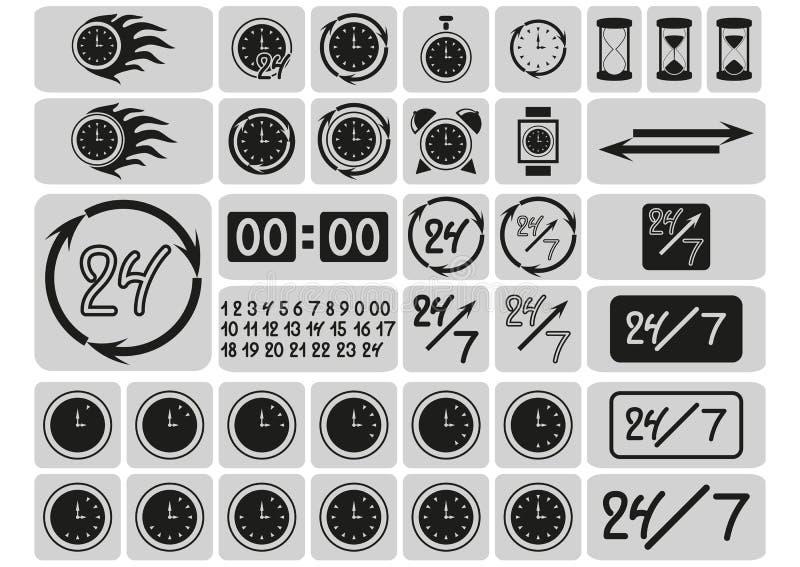 O preto cronometra ícones nos quadrados cinzentos, setas, 24 horas um o dia e 7 dias por semana, dígitos tirados mão, sinais ajus ilustração royalty free