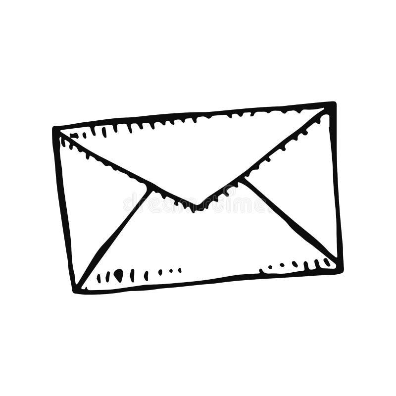 O preto do fecho de correr do envelope isolou o esboço no vetor branco do fundo ilustração stock