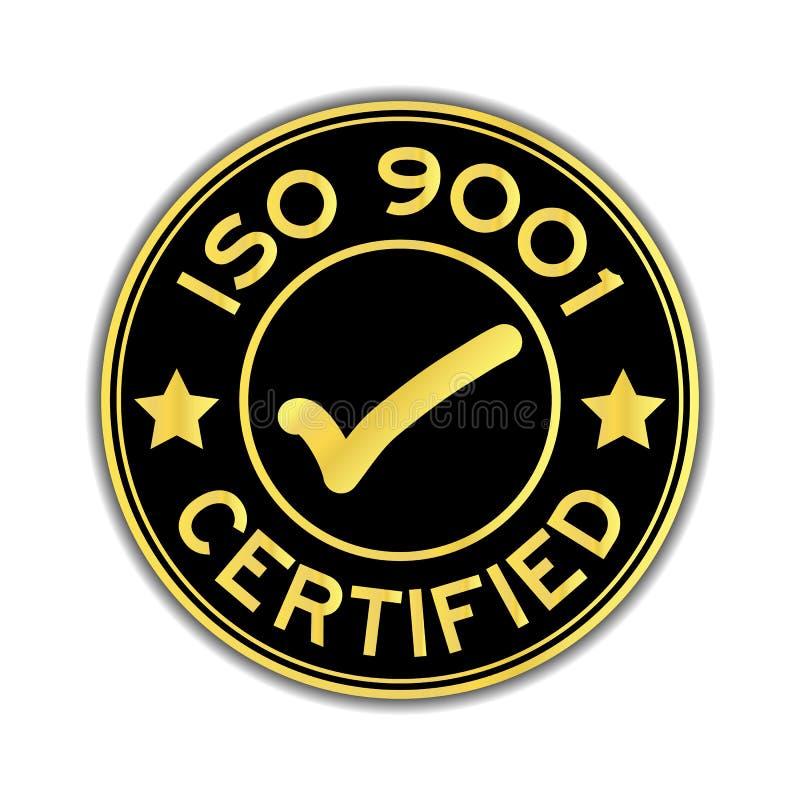 O preto e o ouro colorem ISO 9001 certificado com etiqueta do ícone da marca ilustração do vetor