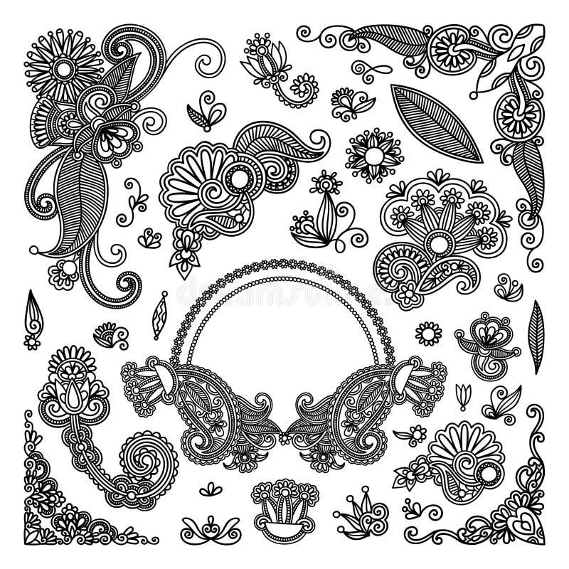 O preto floresce elementos ilustração do vetor