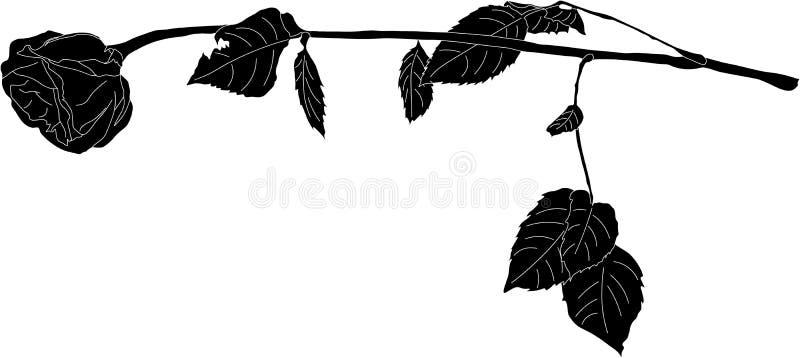 O preto levantou-se ilustração stock