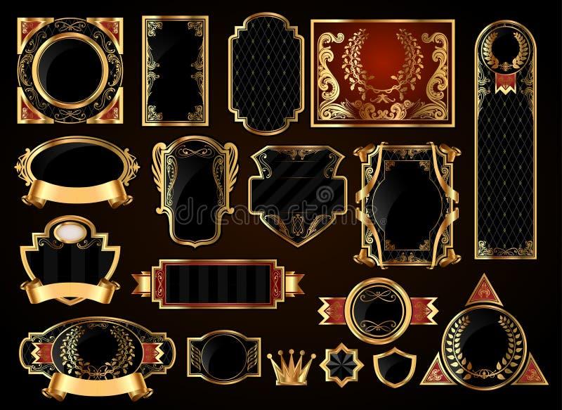 O preto ouro-moldou etiquetas ilustração do vetor