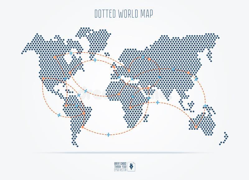 O preto pontilhou o mapa do mundo abstrato do curso com rotas de voo ilustração stock