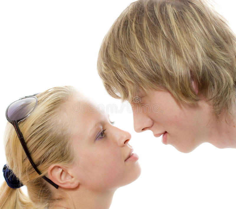 O primeiro beijo fotografia de stock royalty free