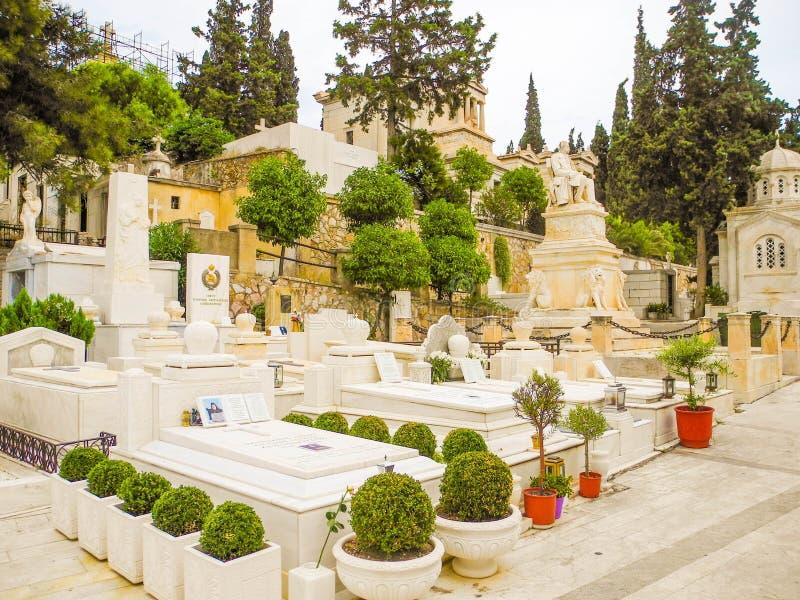 O primeiro cemitério ateniense foto de stock