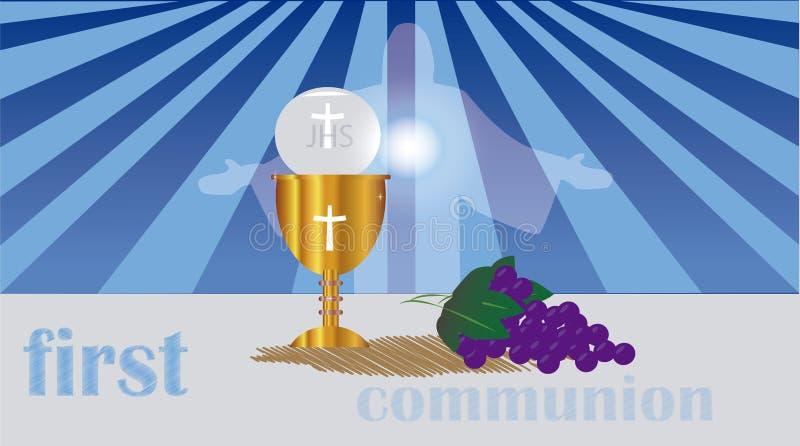 O primeiro comunhão, ou primeiro comunhão santamente ilustração royalty free