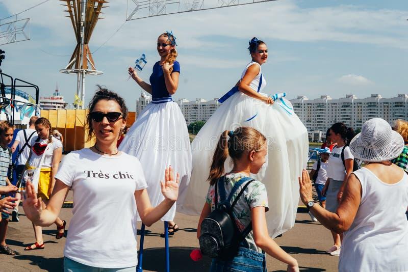 O primeiro dia de òs jogos europeus O palácio principal dos esportes, Minsk da zona do fã imagens de stock royalty free