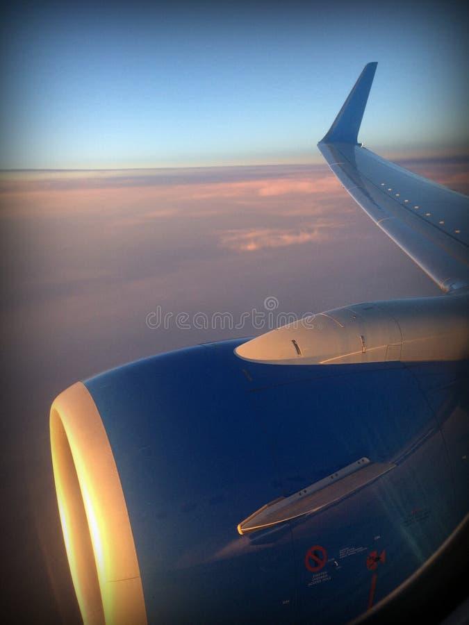 O primeiro voo no plano imagem de stock