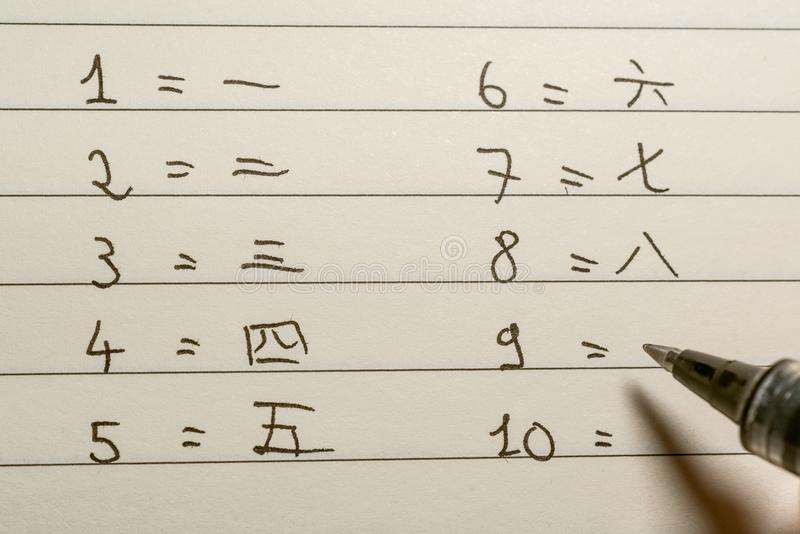 O principiantes de língua chinesa do novato que escreve números no close-up dos caráteres chineses disparou fotos de stock royalty free