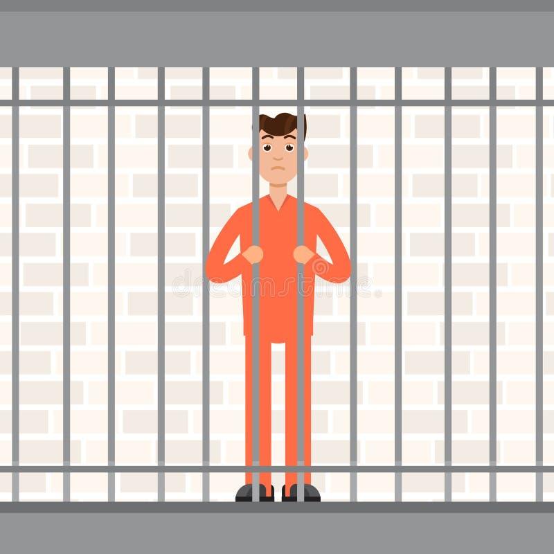 O prisioneiro atrás das barras Cadeia interna do condenado ilustração royalty free