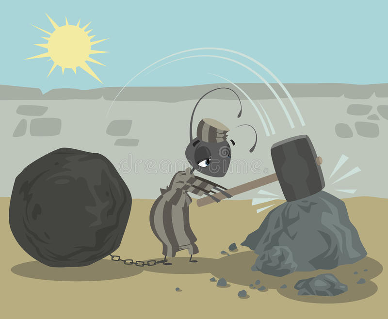 O prisioneiro da formiga com a bola das correntes que trabalha duramente a quebra balança ilustração do vetor