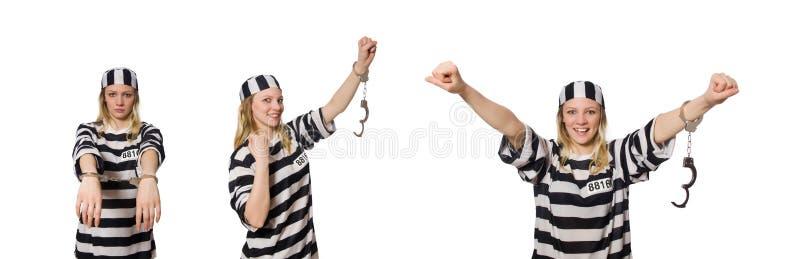 O prisioneiro isolado no fundo branco foto de stock royalty free